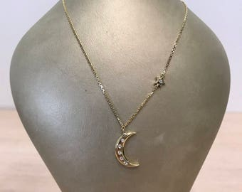 14k solid yellow gold hanging moon pendant and shooting star necklace set with diamonds