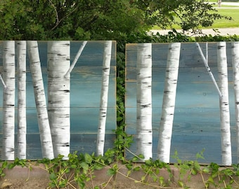 Painting on Pallet wood, Pallet wall decor, White Birch Painting, 2 Piece set, Hand Painted Dark Blue, reclaimed wood, upcycled rustic