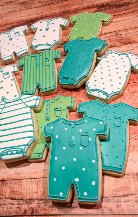 Large Baby Onesies and Romper Cookies- 1 Dozen Cookie Favor, Baby Shower, Birthday Cookies