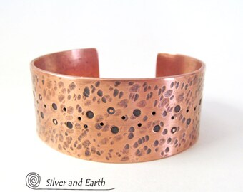 Hammered Copper Bracelet, Handmade Copper Jewelry, Mens Cuff Bracelet, Womens Cuff Bracelet, Copper Anniversary Gift for Him, Metal Cuff