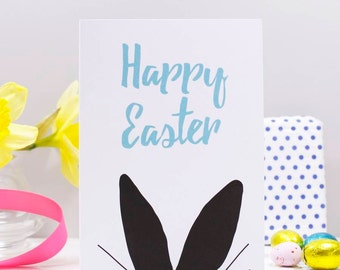 Happy Easter Rabbit Ears Card - Easter Card - Fun Easter Card - Rabbit Card - Rabbit Easter Card - Happy Easter Card