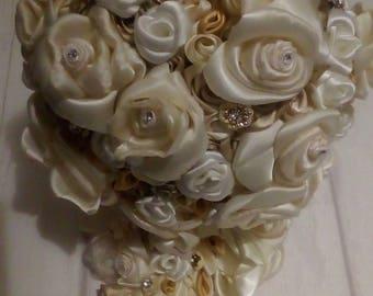 bridal bouquet handmade flowers in satin