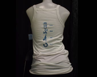 M, L - White Printed Coffee-Sleep-Pole-Repeat Thin-Strap Scoop Neck Tank Top (Great for pole/yoga/fitness/workout/dance/casual)