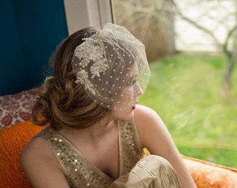 Dotted Tulle Birdcage Veil With Floral Lace Appliques Champagne Gold Veil, Wedding, Bridal Veil