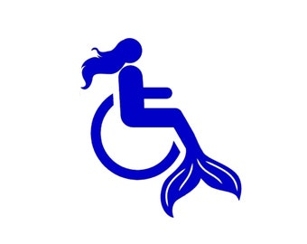 Mermaid in wheelchair vinyl sticker