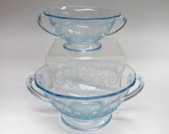 2 Fostoria Versailles Azure Blue Cream Soup Depression Elegant Etched Glass Bowls