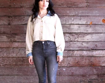crop top - linen and denim long sleeve button down - 90s soft grunge minimalist - natural hippie boho oversized shirt - large