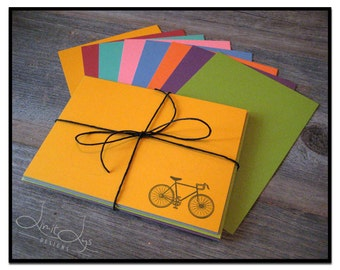 Bike Notecards with Envelopes, Bicycle Note Cards and Envelopes, Road Bike Stationery, Flat Cards with Bikes, Stamped Cards, Set of 8