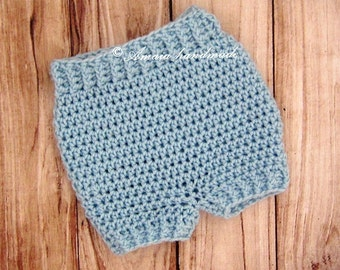 Blue Baby shorts - Crochet baby shorts for Newborn to 12 Months, Great newborn or baby photo prop!