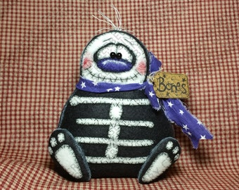Taking a Coffin Break Skeleton Pattern #227 - Primitive Doll Pattern - Halloween - Skeleton - Dem Bones