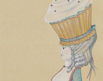 Original Cupcake Art Original Cake Art Original Painting Original Watercolor Original 11x14 Art Marie Antoinette Style Original Bakery Decor