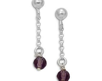 925 Sterling Silver Purple Crystal Dangling Earrings