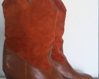 Vintage Rust Orange Suede 1970s Cowboy Faux Alligator Size 8 Boots Shoes