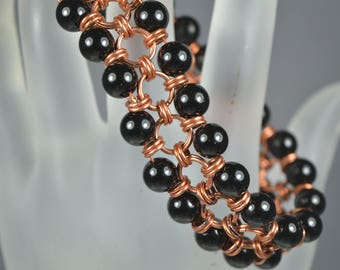 Handmade Continuous Loop Woven Copper Bracelet With Hematite Beads