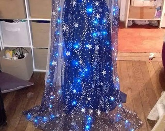 Fantasy fantastic night blue and silver with luminous cape dress gown