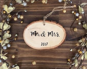 Wooden Mr. & Mrs. Ornament