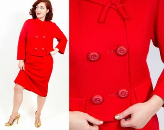 1960s Cherry Red Jackie O Suit - Medium
