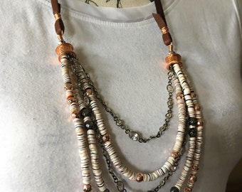 Multi strand shell heishi necklace