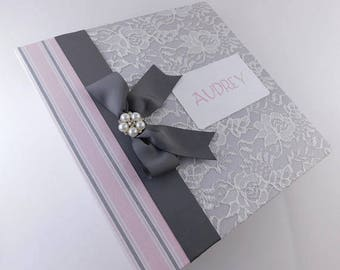 Girl Baby Book Personalized Baby Memory Book Baby Photo Album Pink Gray Lace Scrapbook 4x6 8x10 5x7 8.5x11 Pictures Baby Shower Gift