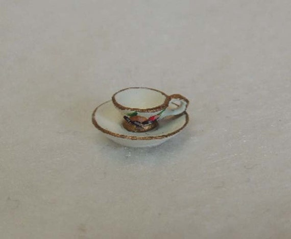 Vintage English Pewter Miniature Hand Painted CUP & SAUCER.. Fruit Design