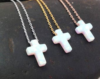 Opal Cross Necklace, White Opal Cross Pendant Necklace, Cross Sterling Silver Necklace Yellow Gold Plated Rose Gold Plated , Opal Jewelry