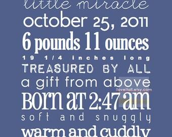 Personalized 8x10 Newborn Baby Custom Birth Announcement . Date Print . Nursery Decor Adoption Subway Art . 8x10 . Customizable Poster Print