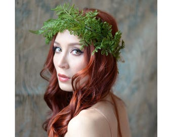 Fern crown, festival crown, woodland headpiece, rustic wedding crown, boho leaf crown, circlet, halo, hair wreath, woodland hair accessories