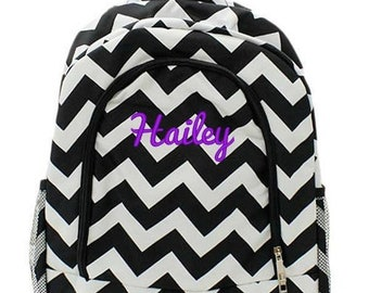 Monogrammed Backpack Personalized Chevron Black Backpack Personalized Backpack Kids Backpack Girls Backpack Boys Backpack