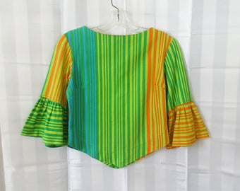 Vintage 1960s Blouse 3/4 Bell Sleeve Green Turquoise Blue Orange Shore Patrol Casual Midriff Style Mod Shirt Small Medium 34 Juliet Sleeve