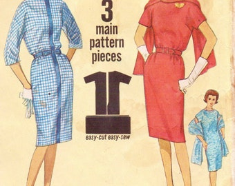 1960s Simplicity Sewing Pattern 4790 Womens Mad Men Dress & Stole Kimono Sleeves and Bateau Neckline Size 14 Bust 34 Vintage Sewing Patterns