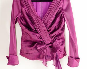 Vintage 90s Organza Top Clueless Style Pink Iridescent Blouse Pleated Gathered Bow Organza Blouse Small