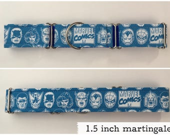 Blue Super heroes faces fabric dog collar