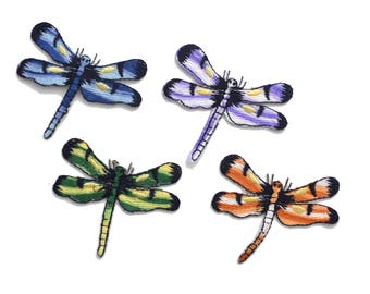 Colorful Dragonflies Wings Insects Embroidered Bulk Iron On Patch Applique CD41717 1 PC