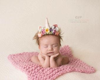 Althea - newborn infant unicorn horn pastel rainbow flower crown floral headband prop