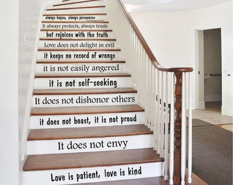 Stair Decals Quotes Love Is... Stairway Decals Quote Vinyl Stickers  Lettering   1 Corinthians 13   Family Decor Staircase Decal Stair X235