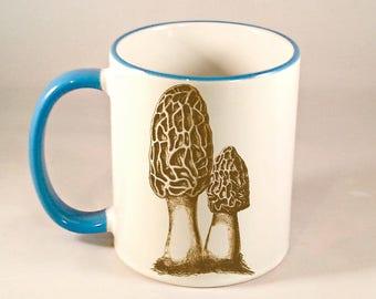 Morel Mushroom Coffee Mug, Hunter Mushroom Hunting Coffee Cup, Sublimated 11 oz, Two Tone Colored Handle & Rim, 4 Colors