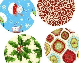 Digital Collage Sheet - One (1x1) Inch (25mm) Pendant Images - Contemporary Christmas Patterns -Magnets, Buttons, Stickers -Buy 2 get 1 Free