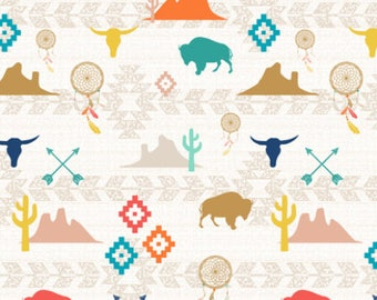 Southwest Fabric by the Yard Cotton Quilting Fabric Organic Cotton Minky Knit Aztec Tribal Cactus Baby Nursery Childrens Fabric 4062487