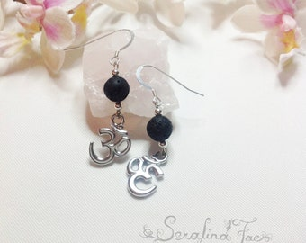 Om Aum Sterling Silver Earrings Aromatherapy Jewelry Lava Stone Essential Oils Diffuser Beads Spiritual Jewelry  Unique Gift Idea Balance