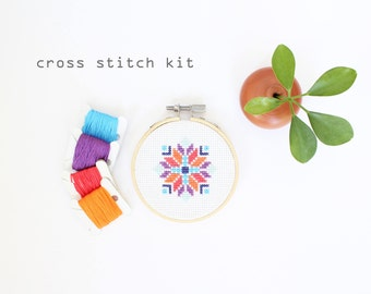 Abstract Flower-Summer, Modern DIY Cross Stitch Kit, Beginners Cross Stitch Kit