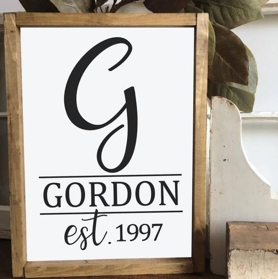 Established Name Sign, Personalized Name, Wedding Gift, Custom Name Sign, Anniversary Gift, Gallery Wall Decor
