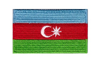 Small Azerbaijan Flag Iron On Patch 2.5 x 1.5 inch Free Shipping