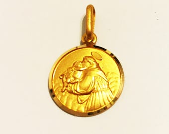"14k solid yellow gold St.Anthony religious pendant(0.75""inch)"