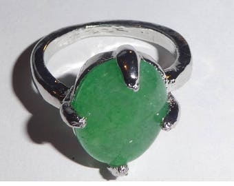 Silver Plated Green Agate Stone Ring size 19