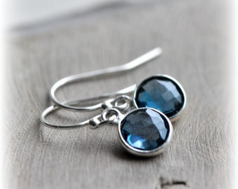London Blue Topaz Earrings Tiny Topaz Dangle Earrings Sterling Silver Earrings Topaz Jewelry Gift for Her Birthstone Handmade by Blissaria