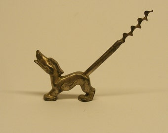 Vintage Cold Cast Metal Dog Corkscrew