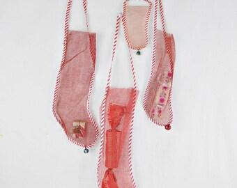 4 Vintage Net Christmas Stockings