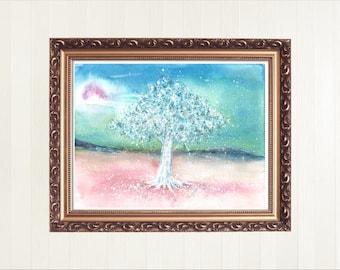 White Tree Watercolor, Tree Painting, Tree Watercolor, Tree Wall Art, Tree Art Print, White Tree Wall Art, Watercolor Painting, Home Decor