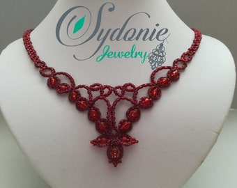 Garnet tatted necklace