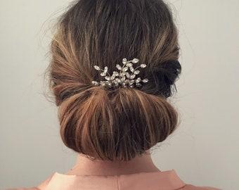 Crystal Leaf Hair Comb, Bridal Hair Comb, Silver Hair Comb
